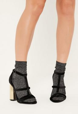 Black Velvet Metal Block Heeled Sandals