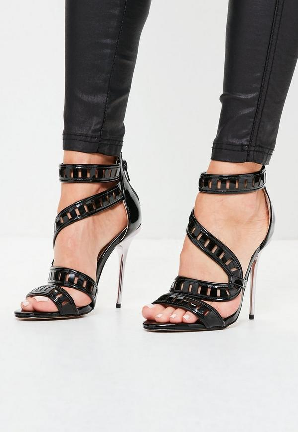 Wrap Around Lazer Cut Metallic Heeled Sandals Black