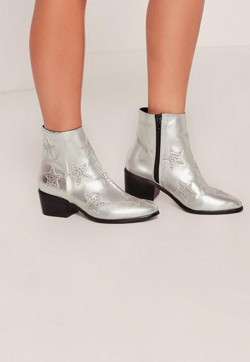 Silver Star Studded Ankle Boots Missguided Australia