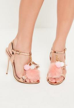Sandales rose doré et pompon en fausse fourrure
