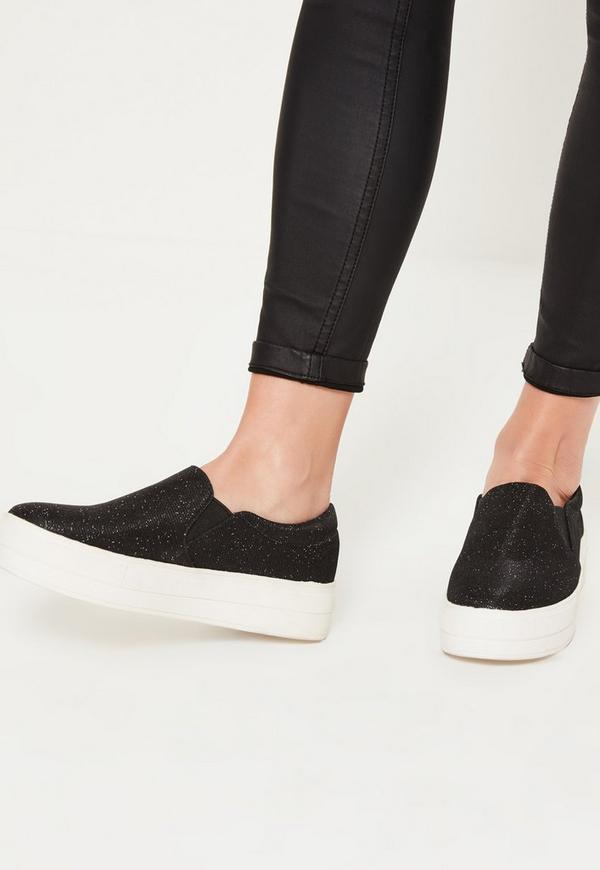Next Black Glitter Skater Shoes