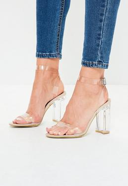 Nude Transparent Block Heel Barely There Sandals