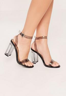 Black Transparent Block Heel Barely There Sandals