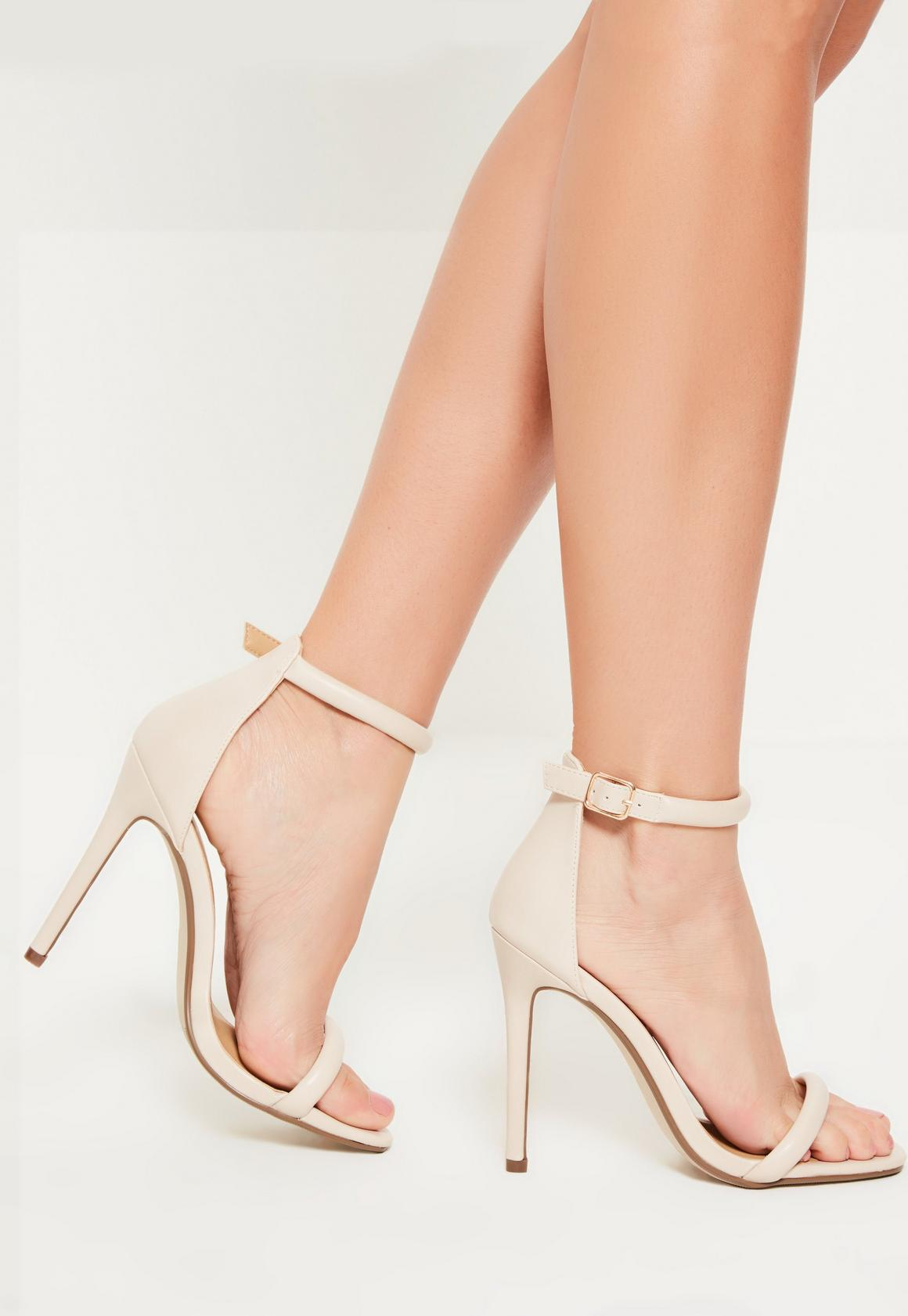 Nude Faux Leather Rounded Strap Barely There Heels | Missguided ...