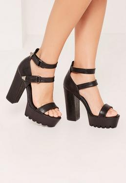 Black Croc Cleated Platform High Heels Sandals
