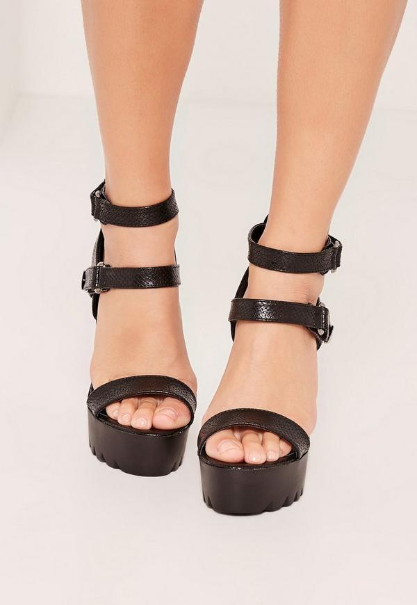 black croc cleated platform high heels sandals missguided. Black Bedroom Furniture Sets. Home Design Ideas