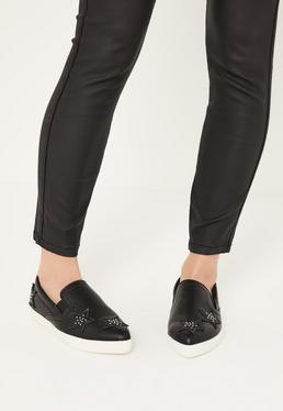 Black Star Embellished Slip On Sneakers