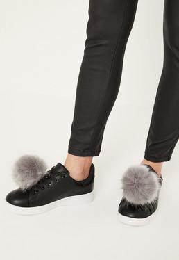 Black Pom Pom Lace Up Sneakers