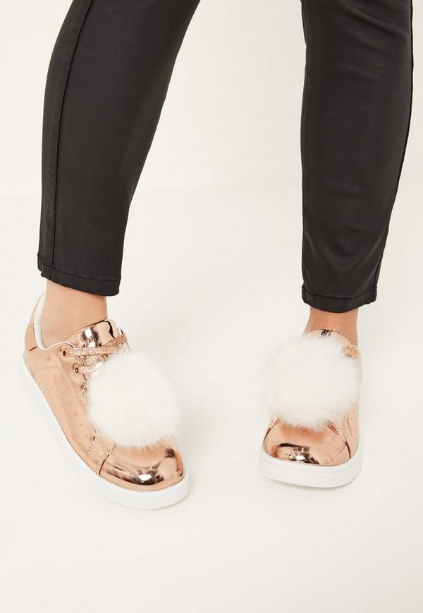 Rose Gold Pom Pom Detail Lace Up Trainers