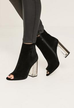 Black Faux Suede Peep Toe Clear Heeled Boots