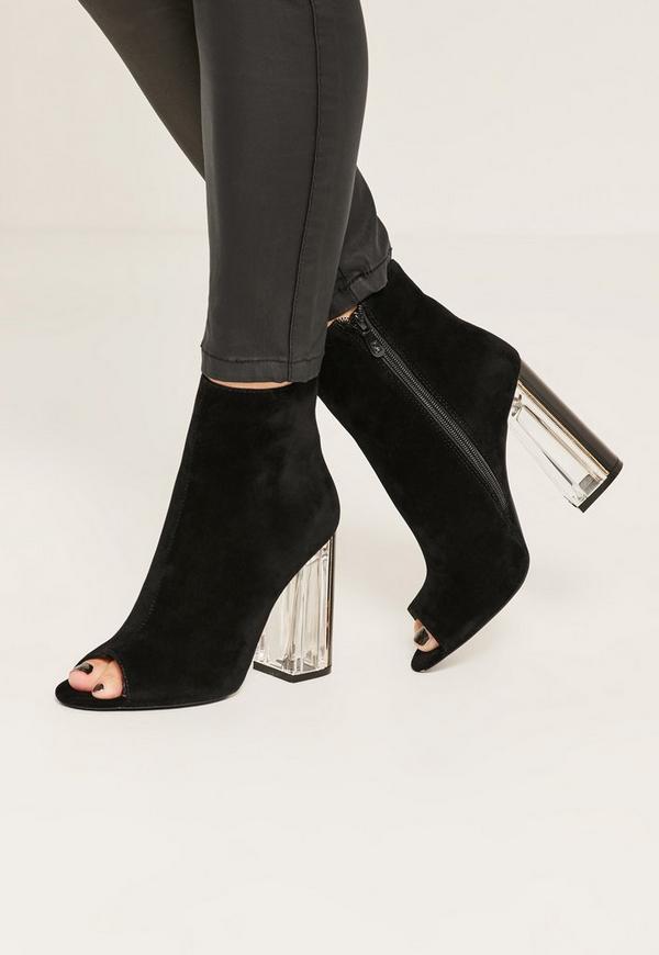 black peep toe transparent faux suede heeled boots