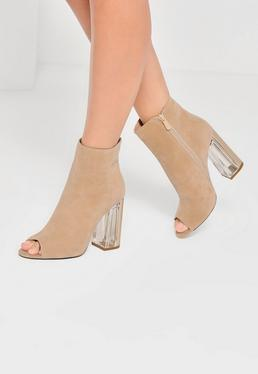 Nude Peep Toe Transparent Faux Suede Heeled Boots