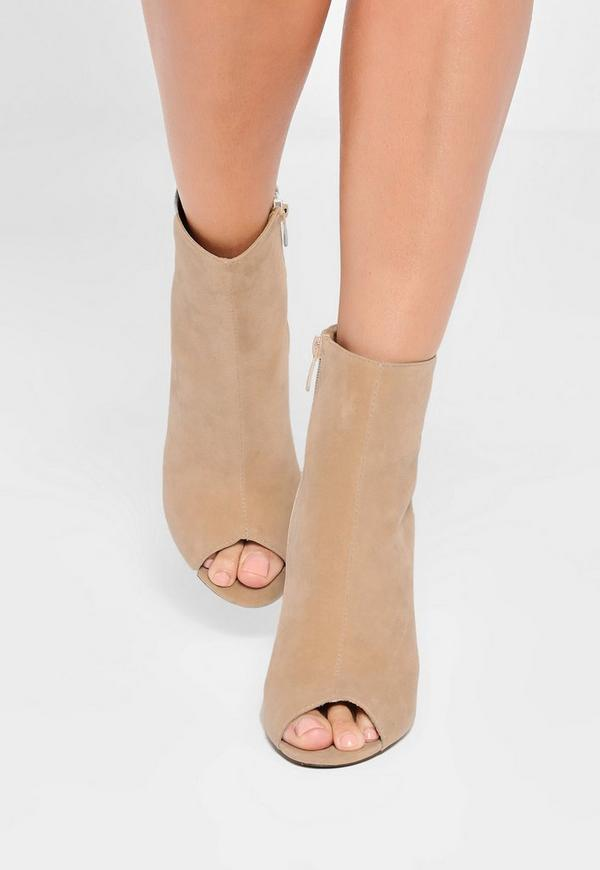 Nude Faux Suede Peep Toe Clear Heeled Boots | Missguided