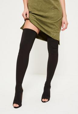 Black Neoprene Thigh High Peep Toe Boots