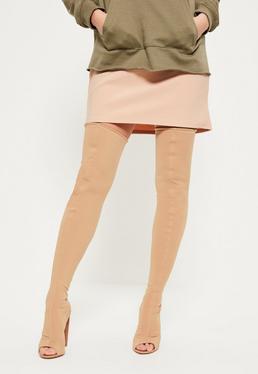 Nude Neoprene Thigh High Peep Toe Boots