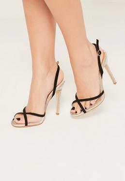 Black Contrasting Vamp Heeled Sandals