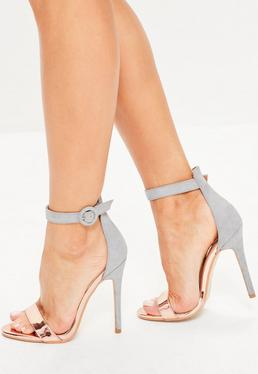 Grey Metallic Faux Suede Barely There Heels