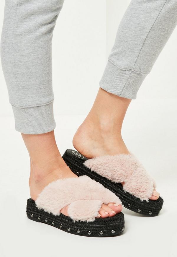 Pink Faux Fur Cross Strap Studded Sliders