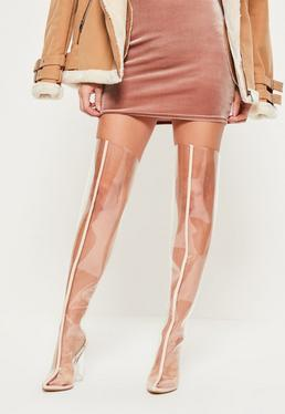 Nude Clear Over The Knee Heeled Boots