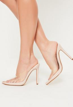 nude pointed toe clear heeled mules