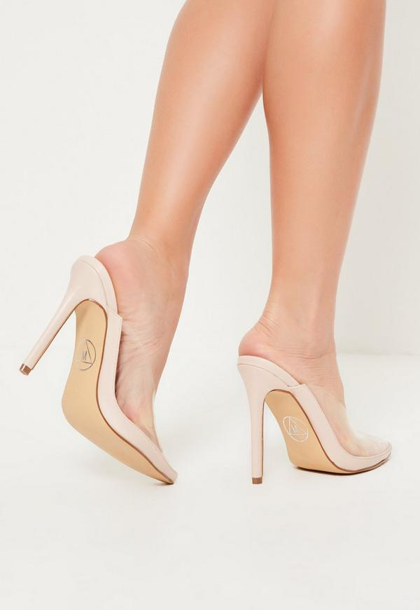 nude pointed toe clear heeled mules | Missguided Ireland