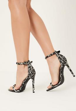grey leopard print metal toe barely there heels