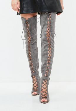 Cuissardes grises spartiates à lacets