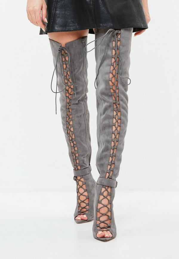 Grey Lace Up Thigh High Gladiator Boots