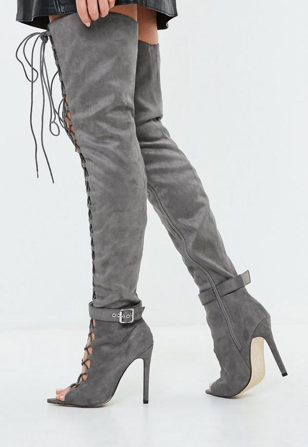 Grey Lace Up Thigh High Gladiator Boots | Missguided