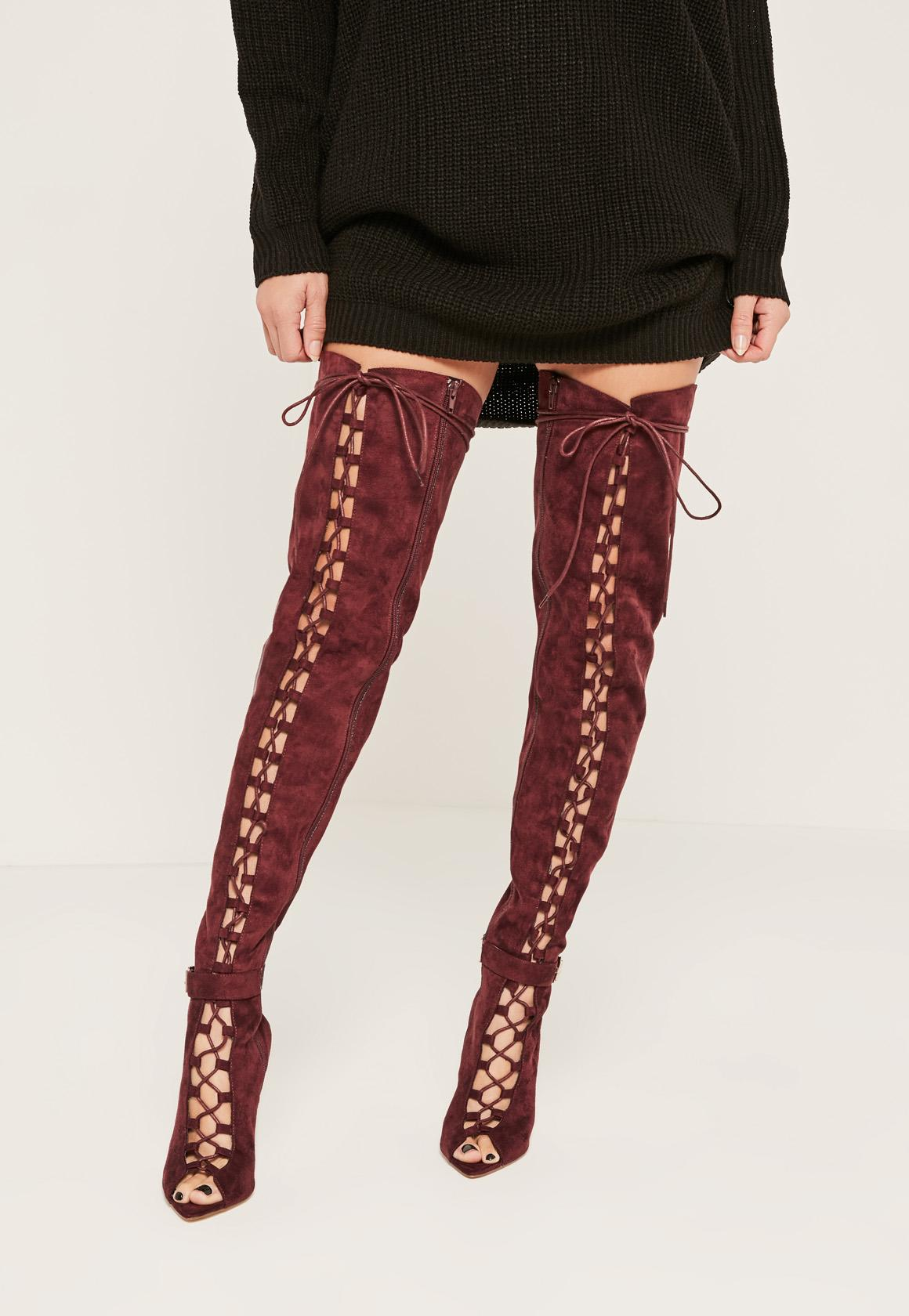 Burgundy Lace Up Thigh High Gladiator Boots | Missguided