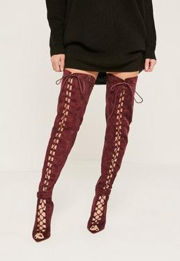 Burgundy Lace Up Thigh High Gladiator Boots