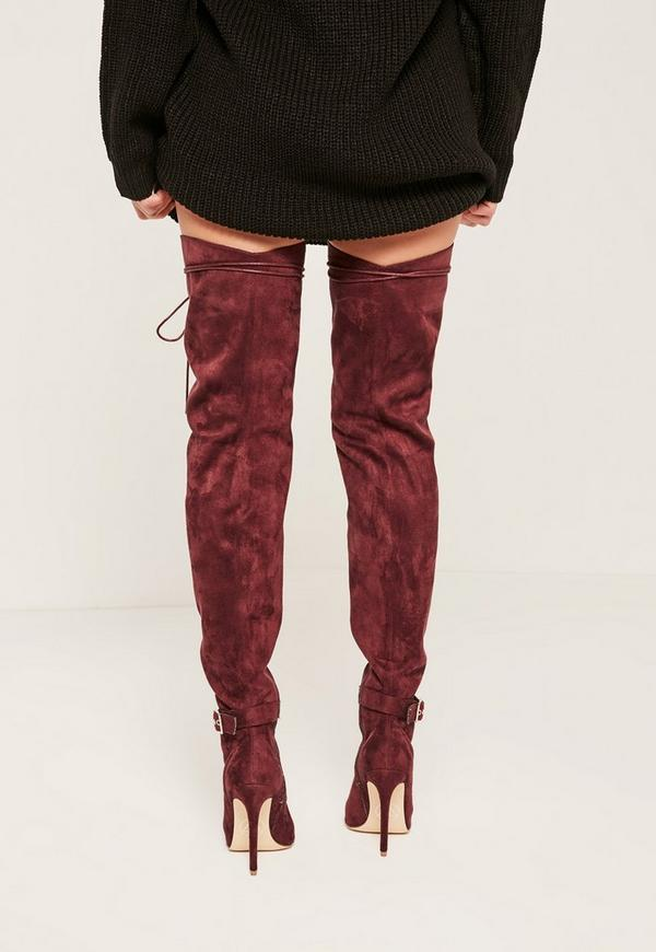 Burgundy Lace Up Thigh High Gladiator Boots - Missguided
