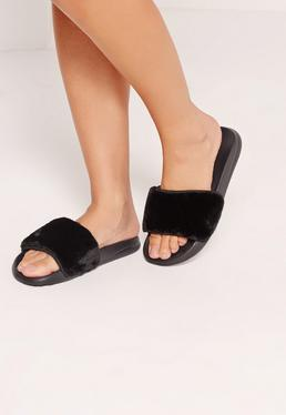 Fluffy Sliders Black