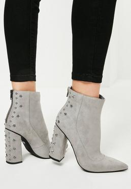 Grey Star Stud Heeled Ankle Boots