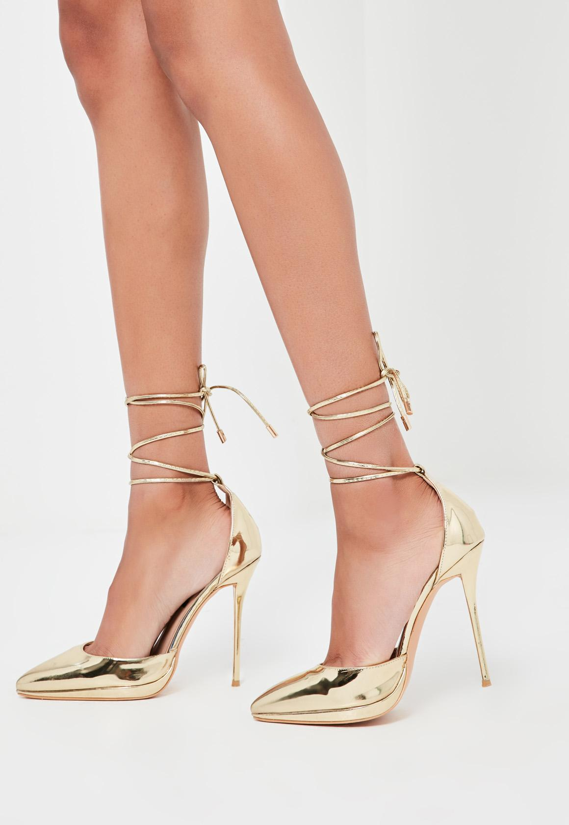Peace   Love Gold Lace Up Court Shoes | Missguided