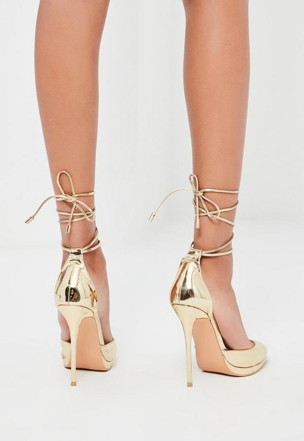 Peace love gold lace up pumps missguided for Miroir rose gold