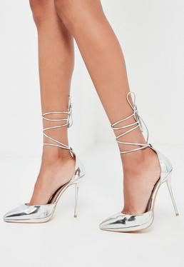 Peace + Love Silver Lace Up Court Shoes