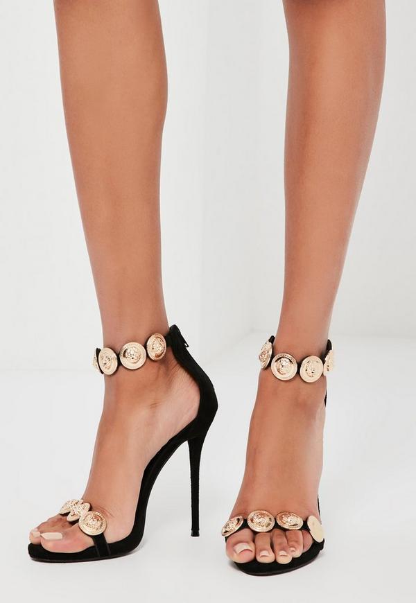 Peace + Love Black Embellished Strap Heeled Sandals