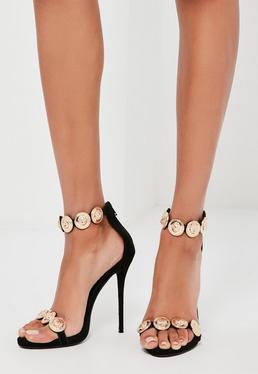 Złote zdobione sandały na obcasie Peace + Love