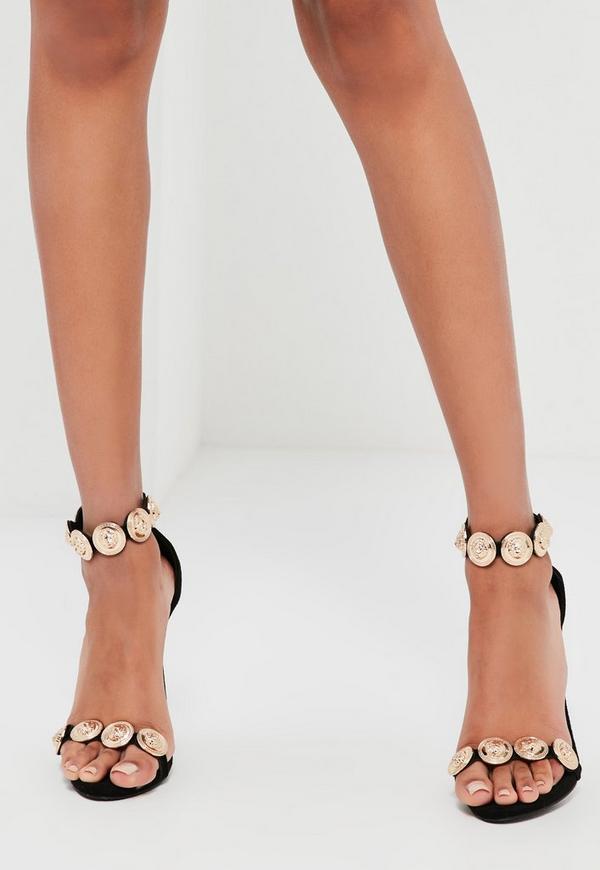 peace love black embellished strap heeled sandals missguided australia. Black Bedroom Furniture Sets. Home Design Ideas