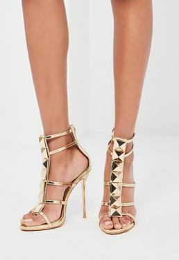 Peace + Love Gold Caged Heeled Gladiator Sandals
