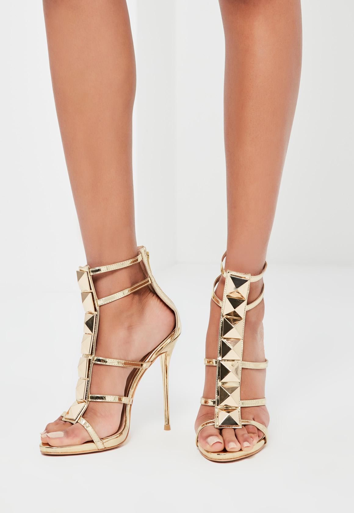 Peace   Love Gold Caged Heeled Gladiator Sandals | Missguided