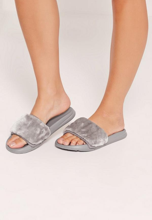 Faux Fur Sliders Grey
