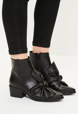 Black Faux Leather Bow Detail Ankle Boots