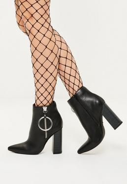Black Ring Detail Pointed Toe Heeled Boots