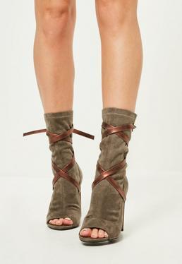 Khaki Tie Detail Peep Toe Heeled Ankle Boots
