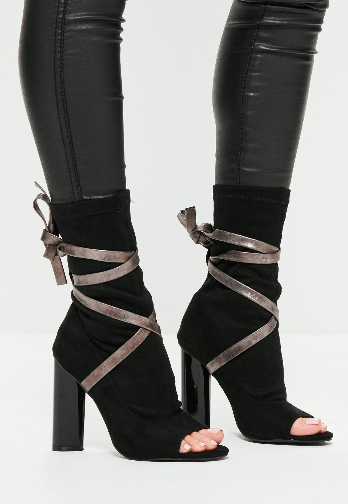 Black Ankle Tie Peep Toe Strappy Boots | Missguided