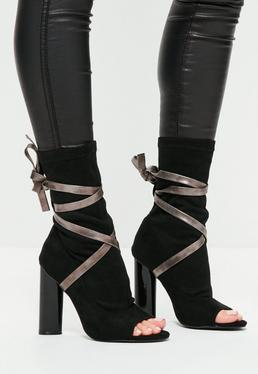 Black Ankle Tie Peep Toe Strappy Boots
