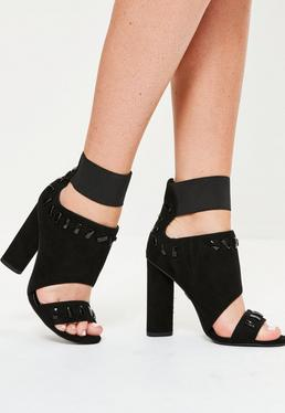 Black Metal Trim Elastic Peep Toe Heeled Sandals