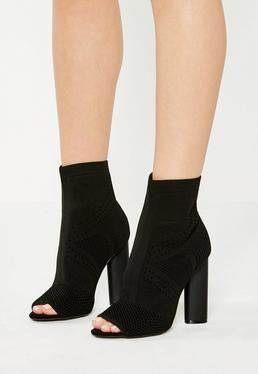Black Knitted Peep Toe Ankle Boots